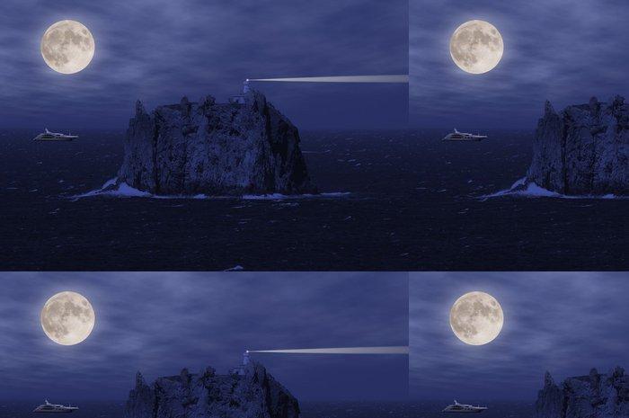 Tapeta Pixerstick Stromboli Island a jachty na otevřeném moři v noci. - Evropa