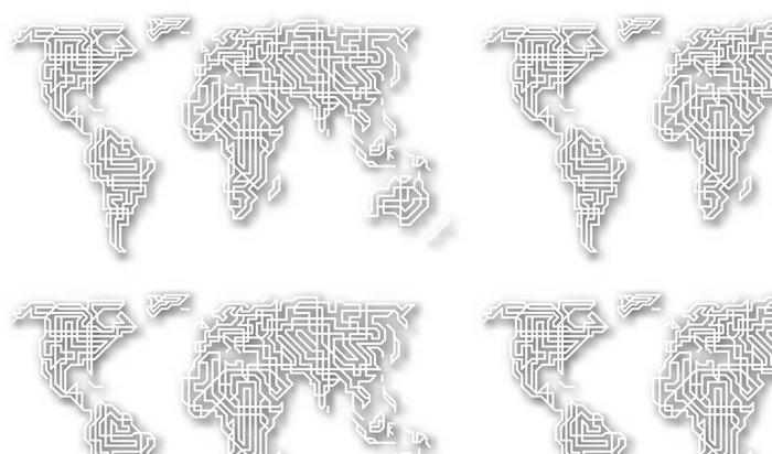 Tapeta Pixerstick Stylizované výřez mapy světa - Doplňky a věci