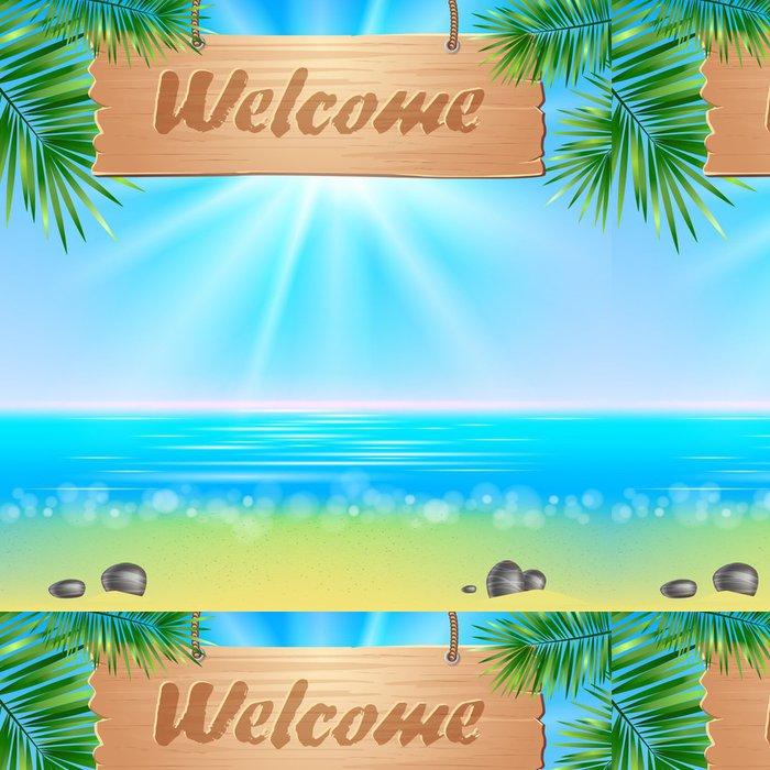 Tapeta Pixerstick Summerl přímořské pohled plakát. Vektorové pozadí. - Oceánie