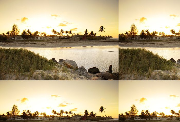 Tapeta Pixerstick Sunset beach landscape - Voda