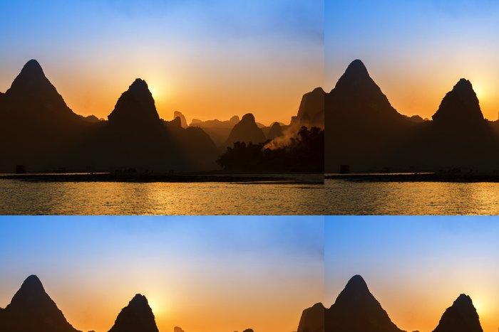 Tapeta Pixerstick Sunset landscpae Yangshuo Guilin, Čína - Asie