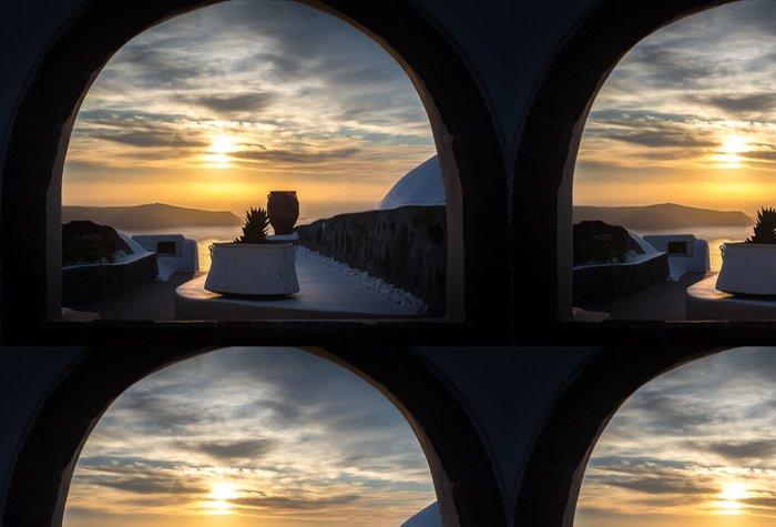 Tapeta Pixerstick Sunset od Imerovigli, Santorini - Evropa