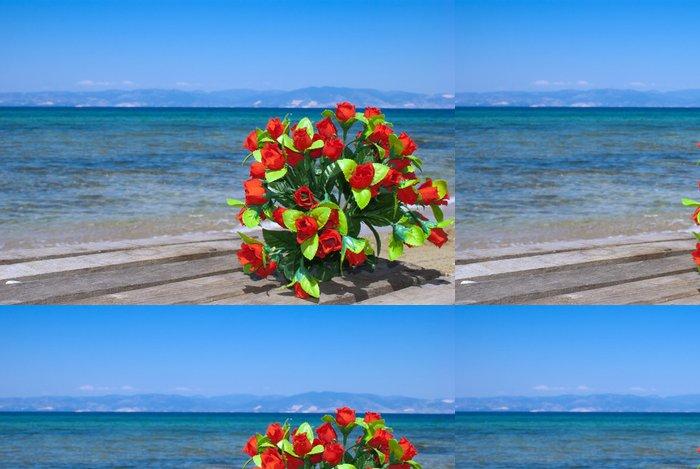 Tapeta Pixerstick Svatební kytice růží na pláži - Evropa