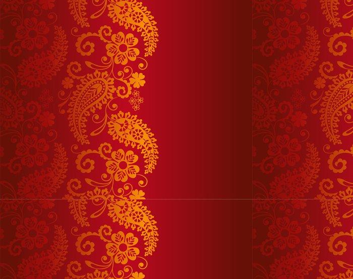Tapeta Pixerstick Svatební oznámení design, paisley květinovým vzorem, Indie - Styly