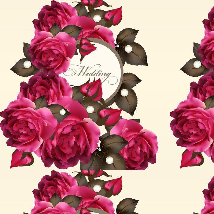 Tapeta Pixerstick Svatební pozvánku s růžemi - Slavnosti