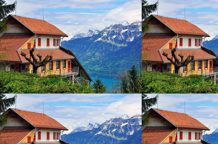 Tapeta Pixerstick Švýcarský dům a hory - Evropa