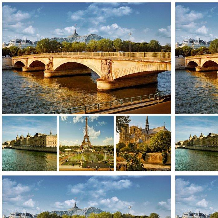 Tapeta Pixerstick Symboly Paříž: Eiffelova věž, pařížské paláce, mosty - Evropská města