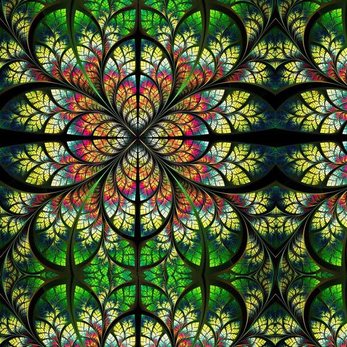 Tapeta Pixerstick Symetrický fraktální vzor. Collection - strom zeleň. Green, y - Pozadí