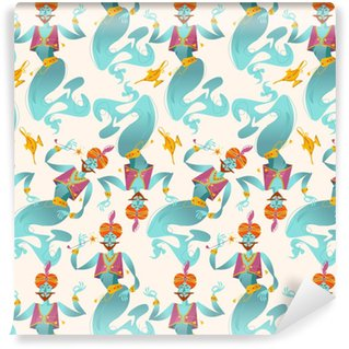 Tapeta Winylowa Szczęśliwe dżiny z magicznymi różdżkami i magicznymi lampami. bezszwowe tło wzór.