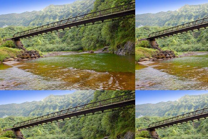 Tapeta Pixerstick Tahiti. Most přes řeku v horách. - Oceánie