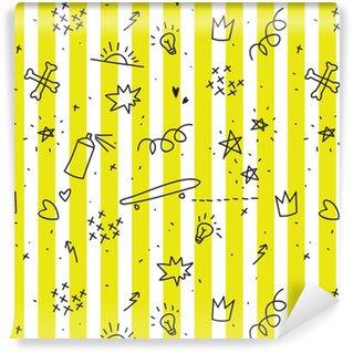 Tapeta Pixerstick Teenager téma bezproblémové vzorek s žlutými pruhy