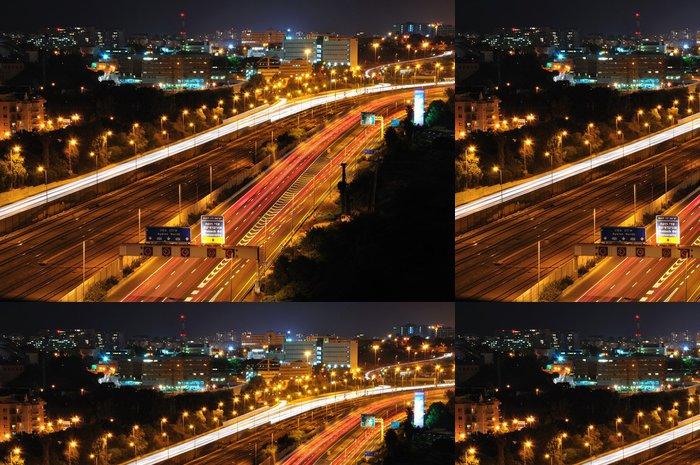Tapeta Pixerstick Tel-Aviv v noci. Dlouhý čas závěrky výstřel. - Město