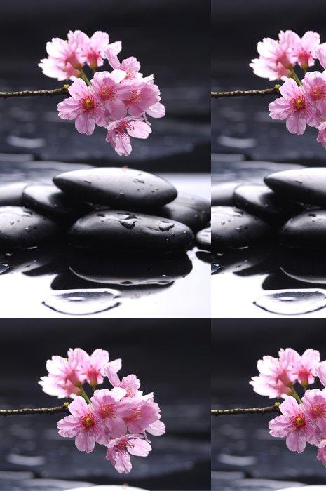Tapeta Pixerstick Terapie kameny s krásnou orchidej s odrazem - Životní styl, péče o tělo a krása
