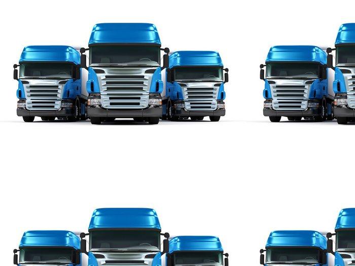 Tapeta Pixerstick Těžké nákladní automobily modré izolovaných na bílém pozadí - Těžký průmysl
