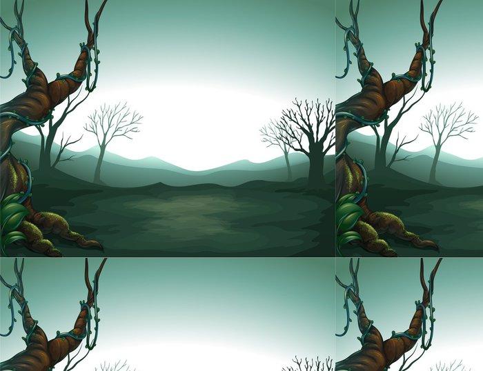 Tapeta Pixerstick Tmavá výhled na les - Pozadí