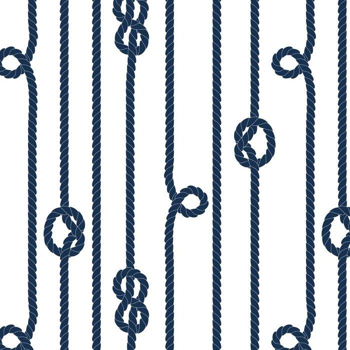 Tapeta Pixerstick Tmavě modrá lano s mořskými uzly na bílém bezešvé vzor - Prázdniny