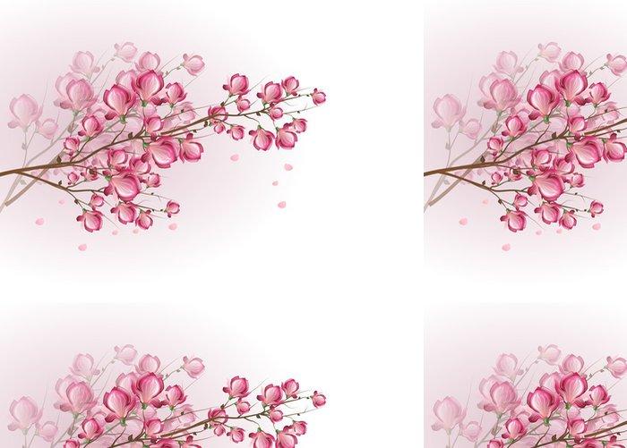 Tapeta Pixerstick Tmavě růžová magnólie květ - Stromy