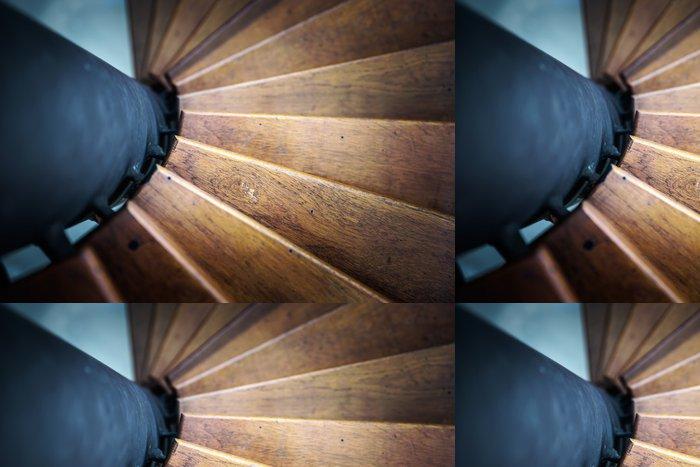Tapeta Pixerstick Točité schodiště z interiéru domu - Soukromé budovy