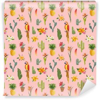 Vinylová Tapeta Toucan Parrot. Tropické květiny na pozadí. Retro bezešvé vzor