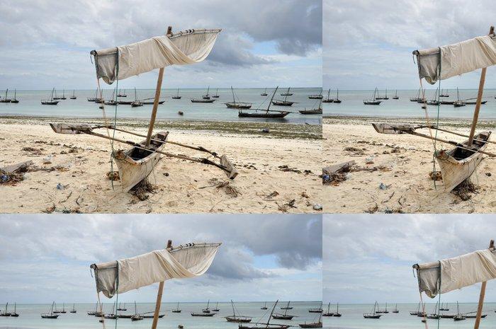 Vinylová Tapeta Tradiční kánoe na pláži - Afrika