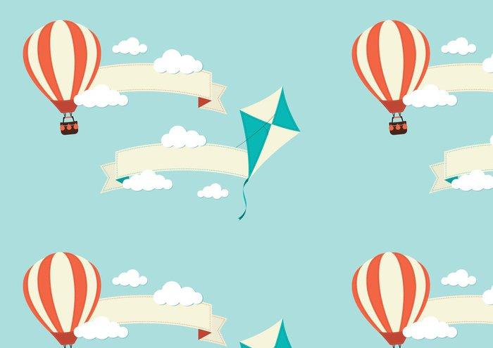 Tapeta Pixerstick Transparenty s drakem a horkovzdušném balónu - Vzduch