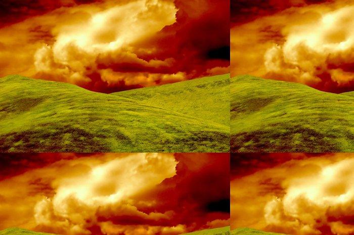Vinylová Tapeta Travnatý pahorek s úžasnou oblohy, ideální pro tapetu - Nebe