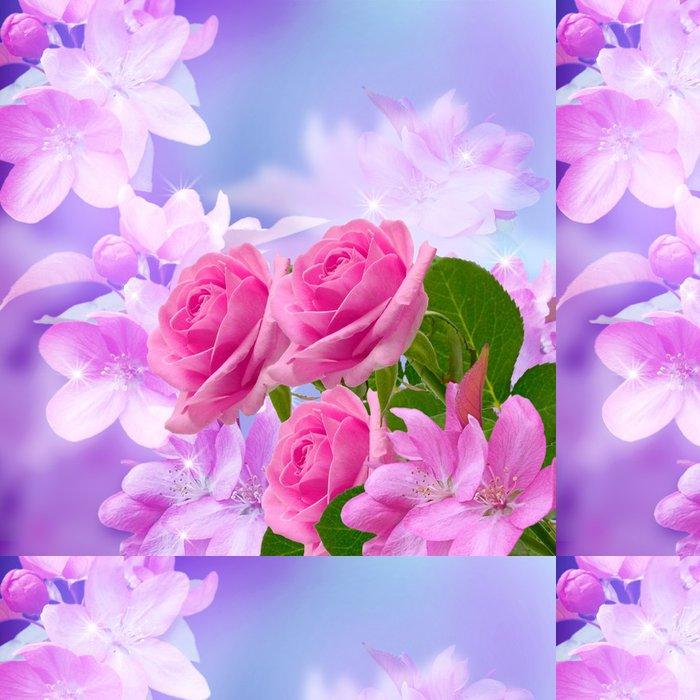 Tapeta Pixerstick Třešně a růže květ - Květiny