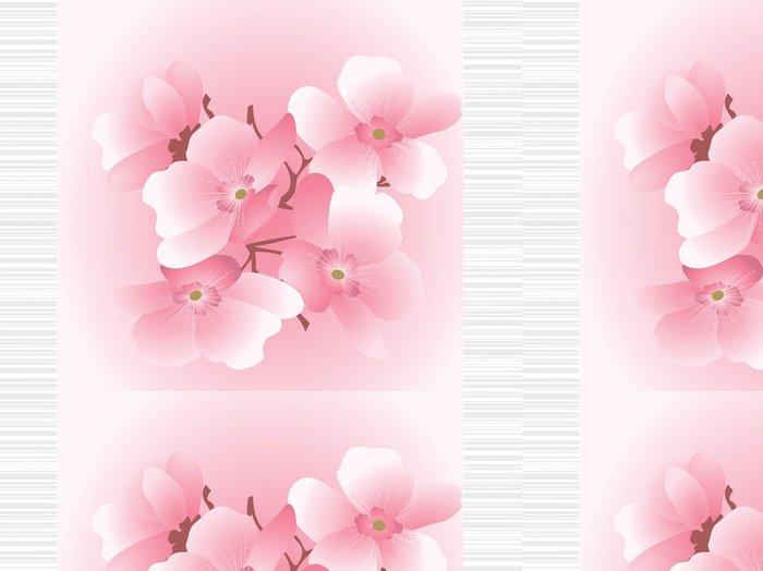Tapeta Pixerstick Třešňové květy na pruhované pozadí - Roční období