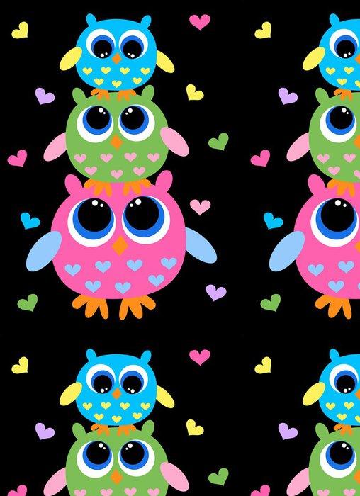 Tapeta Pixerstick Tři barevné sladké sovy - Témata