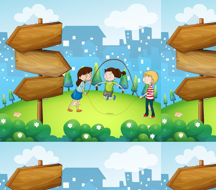 Tapeta Pixerstick Tři děti hrají na zahradě s dřevěnými šipkami - Jiné pocity