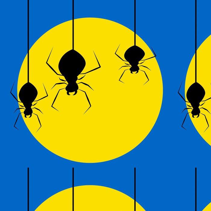 Tapeta Pixerstick Tři strašidelné pavouci visí v přední části plné žluté měsíce - Mezinárodní svátky