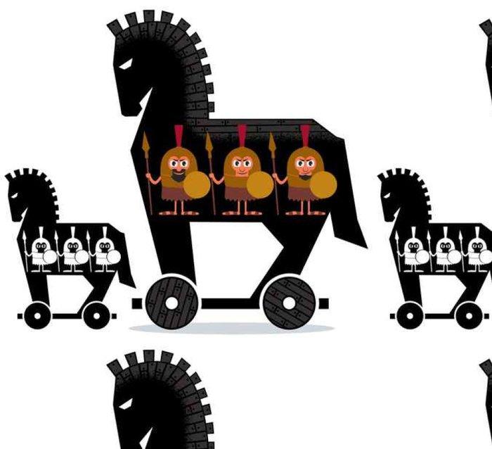Tapeta Pixerstick Trojský kůň / Cartoon trojský kůň s řeckými vojáky v něm ve 2 verzích. - Lidé