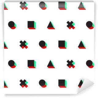 Vinylová Tapeta Trojúhelník kříž kruh čtverec stereo 3D digitální web vzor