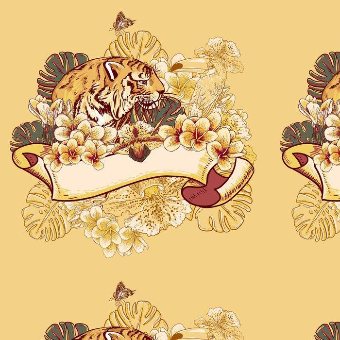 Tapeta Pixerstick Tropical Exotic karta Květinové s Toucan a Tiger - Situace v podnikání