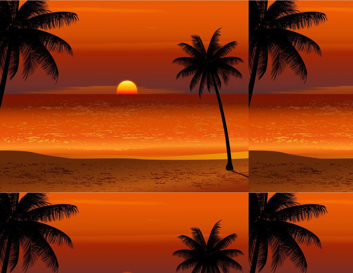 Tapeta Pixerstick Tropická pláž západ slunce - Voda