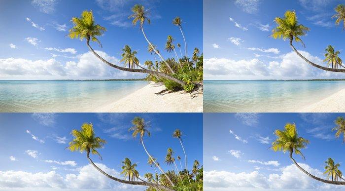 Tapeta Pixerstick Tropické bílá písečná pláž a modré laguny ve Francouzské Polynésii - Panorama
