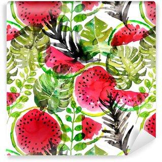 Vinylová Tapeta Tropické meloun a listy palmy bezešvé vzor. akvarel malování