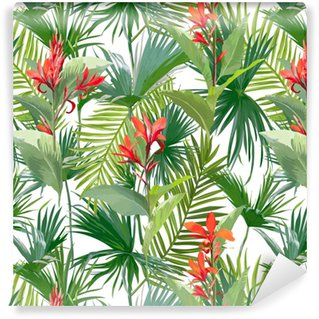 Vinylová Tapeta Tropické palmové listy a květiny, džungle listy bezešvé vektorové květinové vzorek pozadí