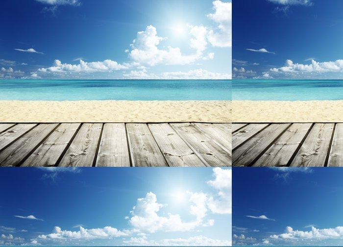 Tapeta Pixerstick Tropické pláže a dřevěná plošina - Voda