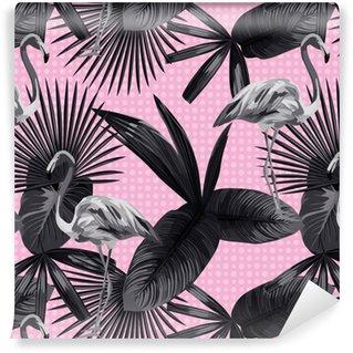Vinylová Tapeta Tropických listů bezešvé plameňák pozadí kružnice černými bílým