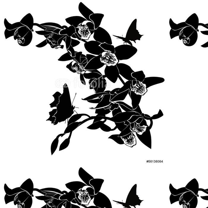 Tapeta Pixerstick Tropických motýlů a orchidejí na bílém pozadí - Květiny