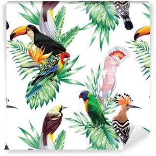 Vinylová Tapeta Tropických ptáků a palmové listy vzorek
