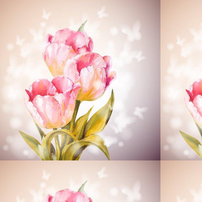 Tapeta Pixerstick Tulipány květiny na pozadí. - Témata