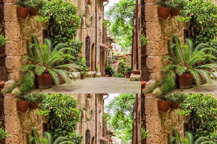 Tapeta Pixerstick Tuscan Street ve městě plném květnaté verandy - Témata