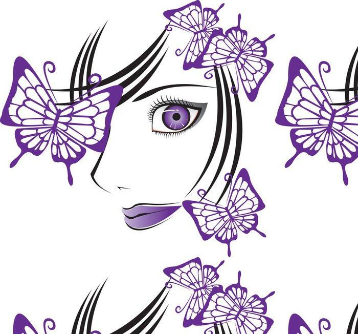 Vinylová Tapeta Tvář s butterflys - Žena