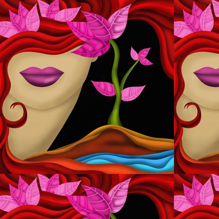 Tapeta Pixerstick Tvář ženy a růžové listy - Témata