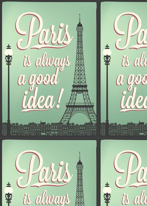 Tapeta Pixerstick Typografická Retro Poster s Paříží památky - Evropská města