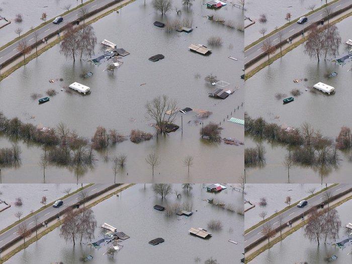 Vinylová Tapeta Überschwemmung Campingplatz - Přírodní katastrofy