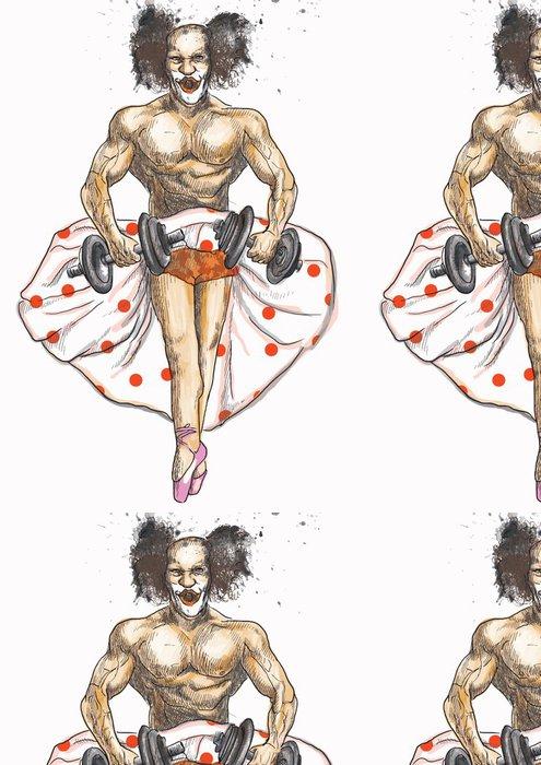 Tapeta Pixerstick Ugly kulturista s činkami oblečené jako baletka - Zábava