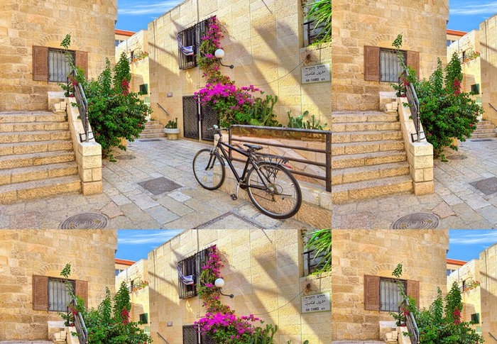 Tapeta Pixerstick Ulice a stonrd domy v židovské čtvrti v Jeruzalémě. - Střední Východ